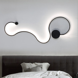Forma de la lámpara de pared moderna Curva LED serpiente como S luces aplique de la pared de la sala de estar dormitorio Iluminación Decoración de luminarias
