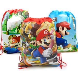 Baby Shower Mochila tessuto non tessuto Ragazzi Favorisce Super Mario Zaino Decorare festa di compleanno con coulisse regalo Bag