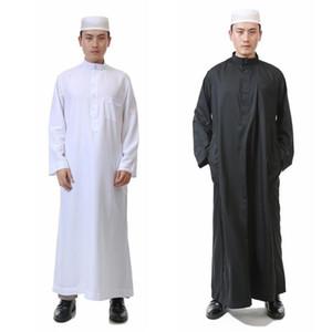 Исламского Рамазан Богослужения Молитвы Wear Одежда Люди Твердой Полиэстер мусульманской Джубба Thobe Длинный Robe платье Белое платье