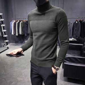 Otoño Invierno punto de los hombres de Turtelneck suéteres sólido de punto Jerseys masculinos suéteres ocasionales adelgazan Moda Fit Suéteres