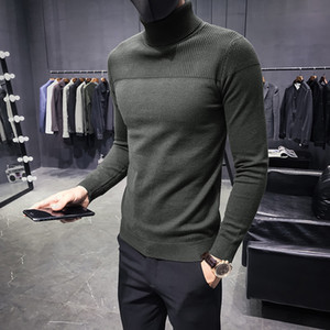 de Inverno Men Sweater Outono Turtelneck camisolas mornas Sólidos malha Pullovers masculinas Camisolas Moda Casual Slim Fit Pullovers