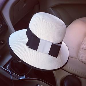 Comercio al por mayor 1920 estilo mujeres del verano del sombrero de paja de la cinta Bow Bowler Cloche Bucket Sun Hat Cap Iglesia Derby Tea Party Beach ala ancha sombrero