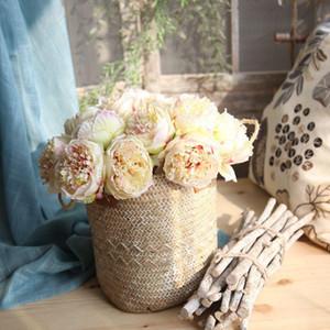 5Head de mariage artificielle Pivoine soie Bouquet de fleurs Décoration bureau Décoration intérieure Fleurs Faux pour le mariage Birthday Party