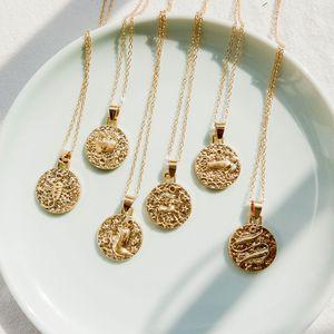 Cadena de oro Martillo Metal En Relieve 12 Zodiaco Horóscopo Astrología Colgante Collar Moda Retro Joyería de Cuello Minimalista Ronda Charm Accesorios