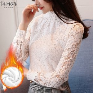 Korean Embroidery Lace Solid Shirt Women Turtleneck Fleece Thick Long Sleeve Women T Shirt Tops Autumn Winter Ropa Mujer T80301