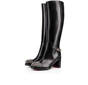 Элегантные Зимняя мода платформы пятки колена сапоги Red Bottom Женская Загрузочный черный натуральная кожа с шипами Bottes Femme с коробкой