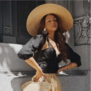Women Raffia Wide Brim Boater Hat 15cm 18cm Brim Straw Hat Flat Women Summer With White Black Ribbon Tie Sun Beach Cap