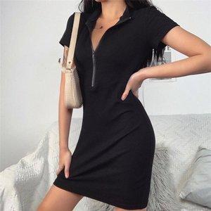 Robes Slim Slim Femelles Pack Hanches Robe Sexy Womens Knit Robe à fermeture à glissière Summer Designer d'été