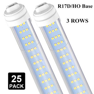 """25 PCST8 T10 T12 Tube Light 8ft ,R17D HO Base 120W 6000K Cold White 1200lm ,96"""" 3 Row LED, Dual-End Powered, Ballast Bypass,"""