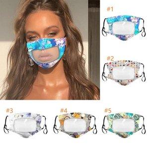 Hommes Femmes Masques d'été Lavable Coton respirant Floral Masque Masques de protection anti-poussière Couverture bouche en plastique transparent Patchwork Masques Party