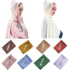 75*180CM Women Plain Chiffon Scarf Hijab Wrap Solid Color Shawls Headband Muslim Scarves Islamic Headwrap Headscarf New Fashion