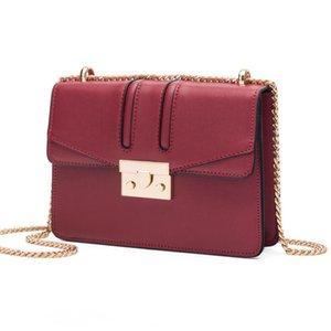 Wild2019 Packet Bag Lock Catch Pequeño Mensajero Cuadrado Cadena de un solo hombro Baco rojo Mujer Paquete