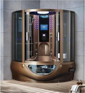 1500mmx1500mmx2250mm vapor de luxo Chuveiro Mult-Funcional TV / DVD Computador Controle Wet coffe ouro Sauna Quarto 7030