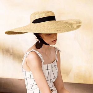 Elegante Wide Brim-Sommer-Hut-Frauen-lange Band Natur Visor Strohhut Holiday Beach Cap Damen Large Wide Schutz Sonnenhut