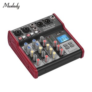 Muslady SL-4 4-канальный микшерный пульт Sound Mixer 2-полосный эквалайзер Встроенный 48В Поддержка BT USB Подключение MP3-плеер