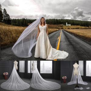 Simple de la boda velo de 3 metros velos de novia largas suaves con el peine de una sola capa de color blanco marfil novia Accesorios de boda CPA078