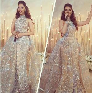 2020 Yousef Aljasmi Dubai Arabic Evening Dresses Prom Gowns Overskirt Detachable Train Champagne Mermaid Lace Applique Party Dress High Neck