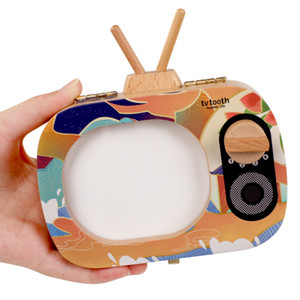 TV Shape Wooden Milk Tooth Organizer Boxes Kids Teeth Storage Keepsakes Creative Tooth Storage Preservation Box For baby Z751
