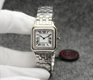 Plata con diamantes de imitación. Reloj de pulsera de mujer para mujer.