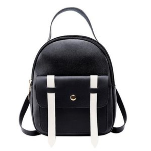 Women Backpack Hit Color Backpack Summer Bag Cover Small Bag PU Leather Shoulder Student