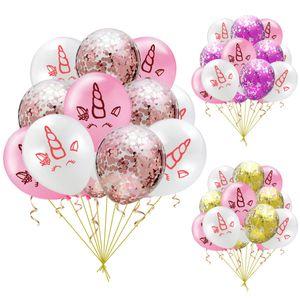 15PCS Unicorn definir balões 12inch 10pcs unicórnio pequeno horse5pcs balões Confetes Sorriso Olhos Xmas Party halloween decoração 12 '' Tarde