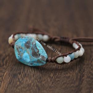 10Pc Facetas Aqua Azul Natural Océano Jasper Piedra Pulsera de Wrap con cuentas de Boho Chic Joyería Bohemio que teje Pulsera ajustable