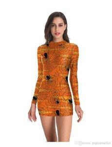 Designer Kleider Sexy 3d Digital Print Spinne dünne Partei-Kleider der Frauen Langarm-Kleid Halloween Frauen New