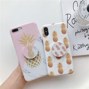팝 소켓 럭셔리 디자이너 전화 케이스 아이폰 (11) 프로 맥스 X XR X가 7 8 귀여운 파인애플 휴대 전화 커버