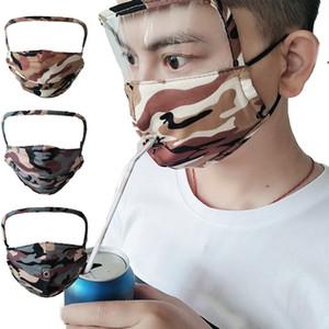 2 1 Moda Kamuflaj Face Tam Yüz Koruyucu Maskeler Straw açılış Ve Fermuar 2 Stiller Kişilik Bisiklet Maske Ücretsiz Kargo Maske