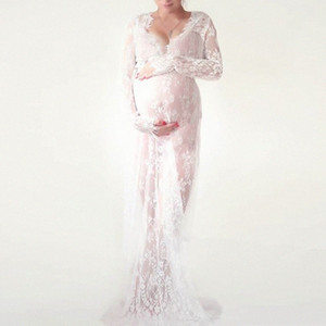 Mutterschaft Kleider Fotografie Props Weiß-Schwarz-Spitze Fancy Schwangere Kleid Maxi Schwangerschaft Kleid für Fotosession M-4XL 3x41 #