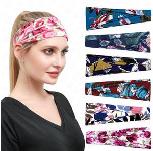 64 farbe Unisex stirnband outdoor sport haarband haarband blume drucken schweißabsorbierende band frauen breite hauptsächlich headwrap d6903