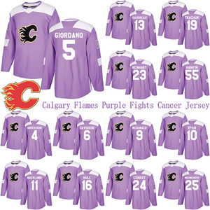 Calgary Flames Purple Fights Cancer Jersey 13 GAUDREAU 19 TKACHUK 23 MONAHAN 5 GIORDANO 39 GILMOUR 93 BENNETT Hockey Jersey