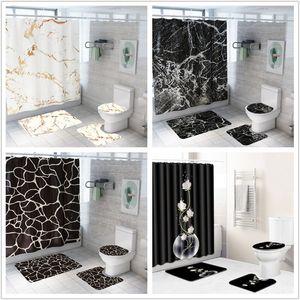 Kreative Marmor Printing Badezimmer-wasserdichten Duschvorhang Pedestal Teppich Deckel Teppichboden Toilette Abdeckkappenset Badvorhang Mat Set T200102