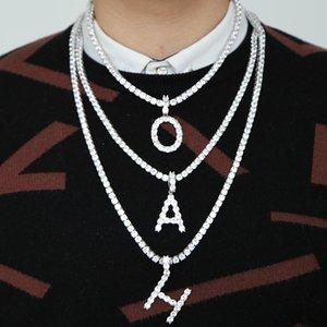 Joyas de moda Hip Hop Mujeres A-Z Inglés Carta collares cristalinos de Bling Bling hacia fuera helada cadena de los hombres de la personalidad del collar pendiente de HWE553