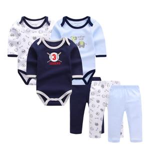 6 pçs / lote Roupa Da Menina Bebê Recém-nascido Da Criança Infantil Outono / primavera Macacão de Algodão + Calças Conjuntos de Roupas de Bebê Q190518