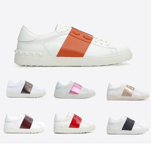 Mujeres Hombres Tejido de lujo Patchwork de cuero Zapatos de moda Remaches Zapatos planos Zapatos deportivos con tachuelas Skateboarding Tenis Confort Zapatos casuales 34-45