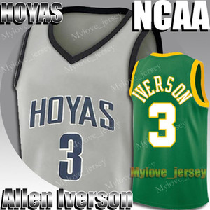 NCAA Georgetown Hoyas Allen Iverson 3 Jersey 23 Michael Jersey MJ 33 Dwyane Wade 3 Jimmer 32 Fredette College Basketball Shirt 2-19
