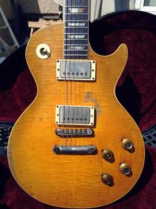 Yaşlı Relic Gary Moore Peter Green Gitar Limon Alev Maple Top Relic Özel Mağaza 1959 Electric Guitar patlama Tek parça Boyun Brown Geri