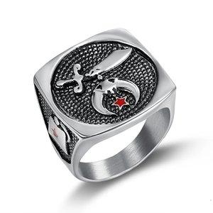 Precio barato producto de alta calidad Religioso Musulmán Espada Shriner anillo Cuchillo Luna y estrella Camel Hat Freemason Shrine anillo masónico