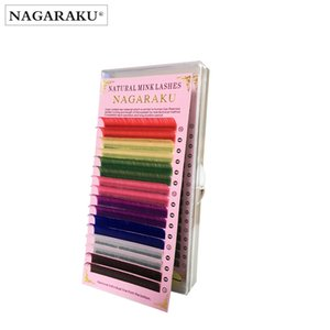 Nagaraku 16rows 마카롱 8 가지 색상 무지개 색깔 속눈썹 확장 인조 밍크 색발 속눈썹 다채로운 속눈썹 마키 매젬 Cilios