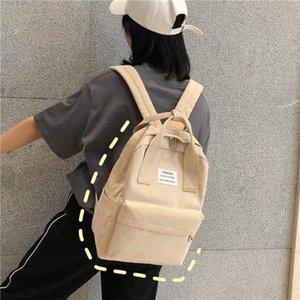 Corduroy Zaino di modo semplice Studente di scuola zaino femminile borsa da viaggio Junior High School Student Schoolbag