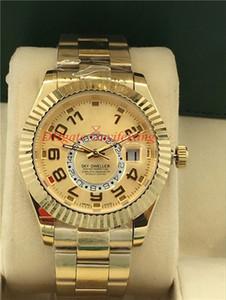 42 millimetri superiore degli uomini di qualità Sky Dweller 326.938 oro giallo 18K Orologi neri Champagne Dial GMT di lavoro Sunray romani lunetta scanalata Wristwathes