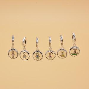 Bâton d'argent de la famille Figure CARTOON Charms comprennent maman garçon fille animaux Fit style européen Bracelets Collier Femme Bijoux TTA-993