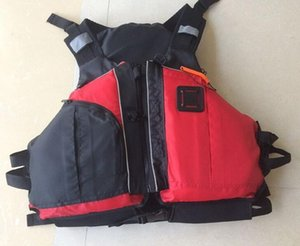 Wholesale- Free shipping CE Certified Kayak Life Jackets,Rafting life vest Adult red color Buoyancy aids PFD big pocket