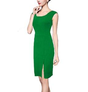 Women's pencil dresses Slim fit Solid color Front Split Sleeveless Vest Bodycon Dress Work Dress For Women