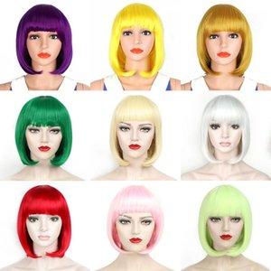 10 '' Synthetic Liso Curto Bob Wigs for Green Rosa Mulheres Bangs Azul Ouro Vermelho Preto Branco Roxo Partido Cosplay Brown Wig