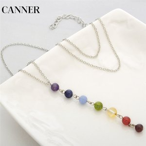 CANNER 7 Chakra Gem Stone Beads Collar Colgante Mujeres Reiki Healing Equilibrio Collares Encantos Joyería Mejor Regalo