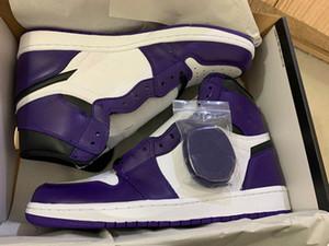 2020 New Court Violet 1 blanc violet I élevé Hommes Femmes Chaussures de basket-ball de sport en plein air avec 1s formateurs boîte TAILLE 7.5-12