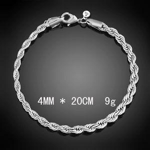 Lujo 3m m 4m 925 pulseras de plata de 8 pulgadas mujeres trenzado cadena de la cuerda pulsera de la joyería del brazalete del abrigo para los hombres s Moda