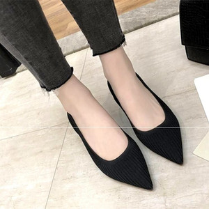 Eoeodoit Mode Atmungsaktive Stretch Pumps Spitze Zehen Mit Blockabsatz Pumps Slip On Sexy V Mund Frauen Casual Office Lady Schuhe Y190706